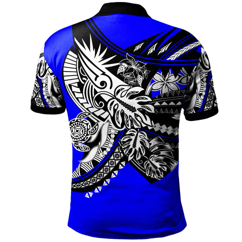 Samoa Polo Shirt - Tribal Jungle Blue Pattern - BN20