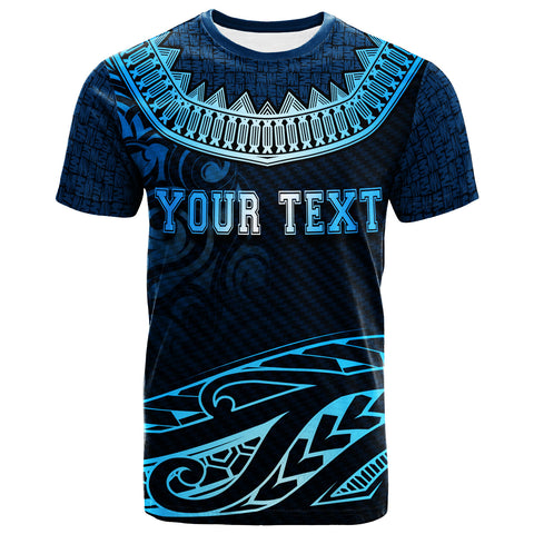Fiji Custom Personalised  T- Shirt - Serrated Pattern Blue Color - BN20