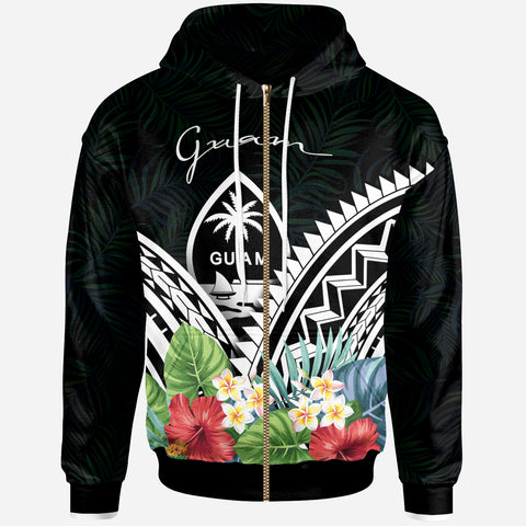 Guam Polynesian Zip-Up Hoodie -Guam Coat of Arms & Polynesian Tropical Flowers White - BN22