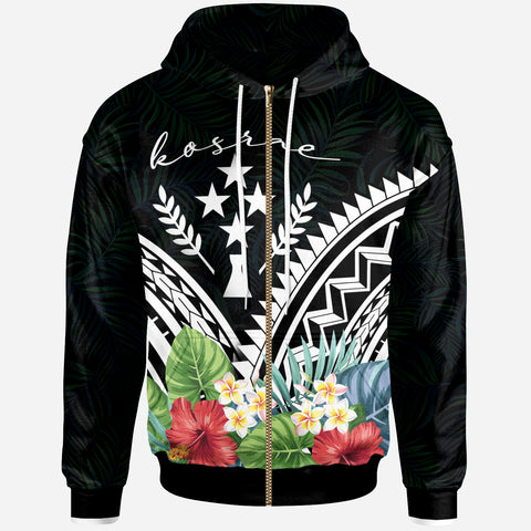 kosrae Polynesian Zip-Up Hoodie - kosrae Coat of Arms & Polynesian Tropical Flowers White - BN22