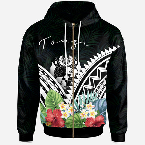 Image of Tonga Polynesian Zip-Up Hoodie - Tonga Coat of Arms & Polynesian Tropical Flowers White - BN22