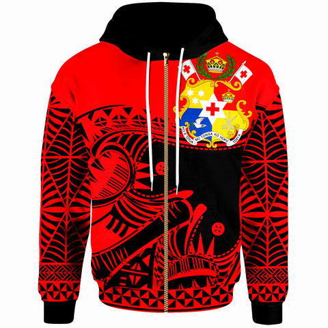 Image of Tonga Custom Personalised Zip-Up Hoodie - Youthful Dynamic Style Red Neon Color - BN20