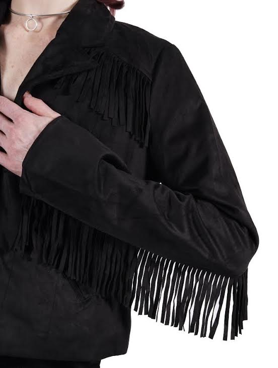 Suede Fringe Black Jacket