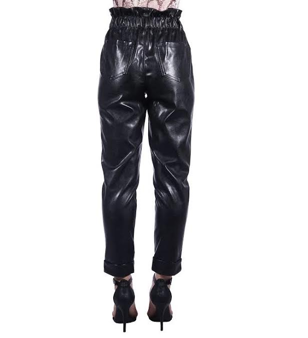 Black Vegan Leather Scrundg Trousers