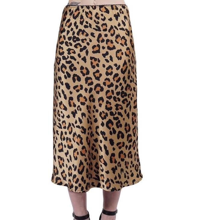 Gold Satin Leopard Skirt