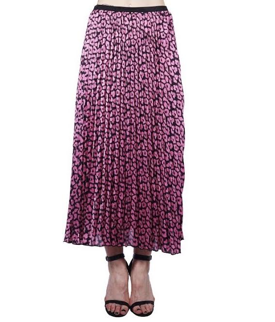 Pink Leopard Pleated Skirt