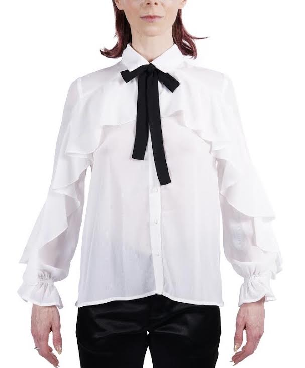White Ruffled Chiffon Blouse