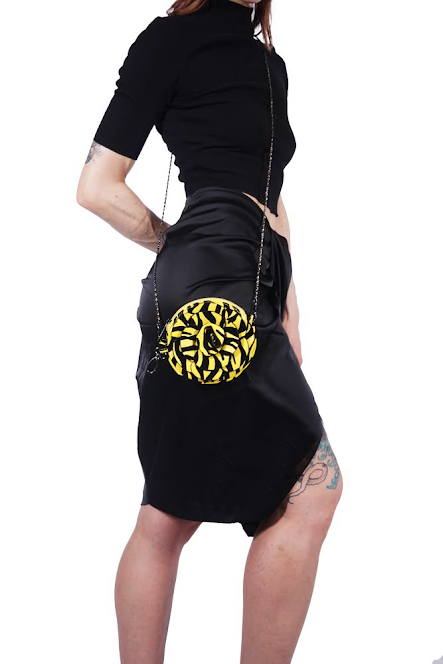 Zebra Rose Purse, black/yellow