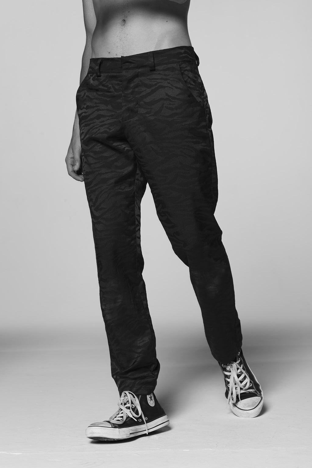 Black on Black Tiger Striped Chinos