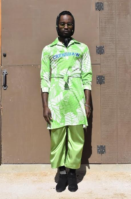 Neon Green Crenshaw Dress / Satin Trousers