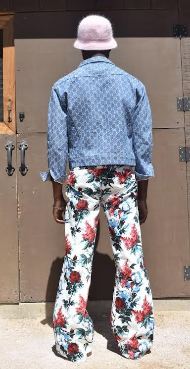Light Blue Denim GG Jacket / Floral Cotton Poplin Trousers