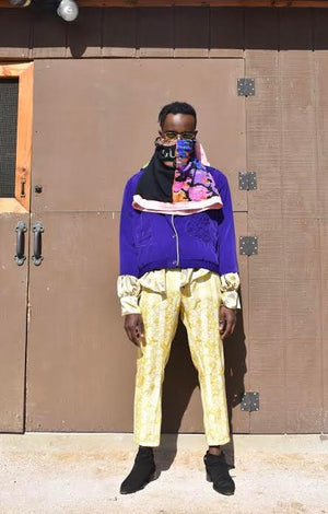 Golden Jacquard Trousers / Purple Crenshaw Bomber / Pewter Silk Lamb Blouse
