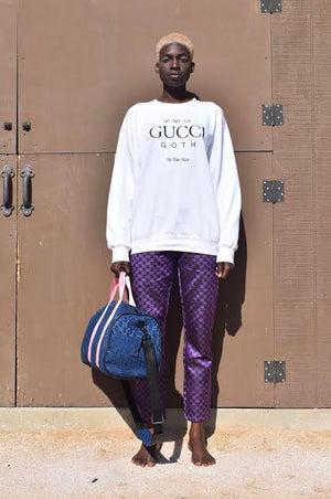 White Gucci Goth Crewneck Sweater / Purple GG Monogram Trousers