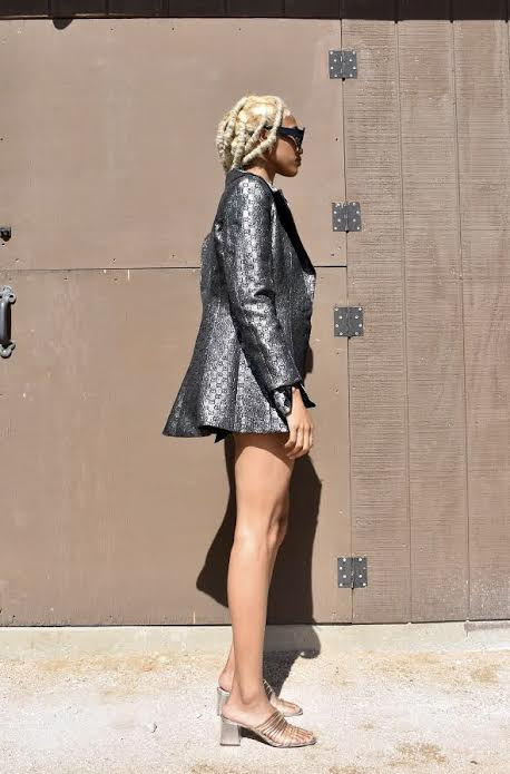 Metallic GG Monogram Blazer / Black GG Charmeuse Blouse / Black Leather Shorts