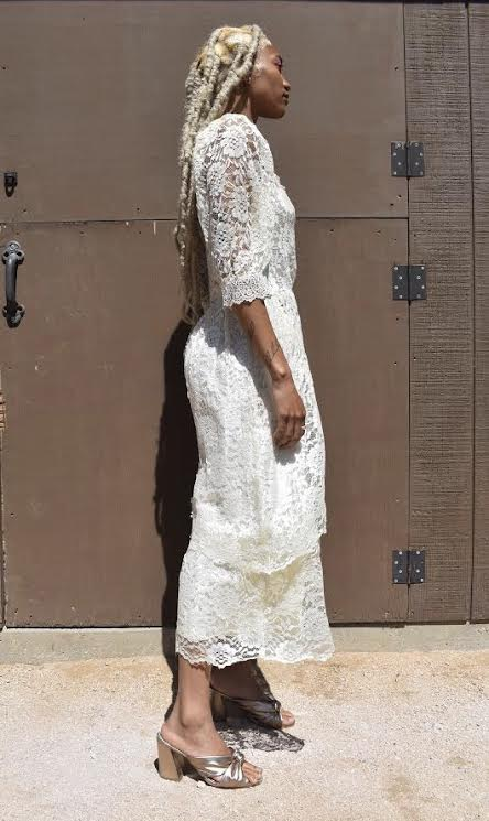 Damp White GG Lace Dress