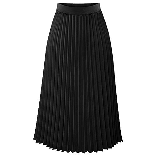 Black Satin Pleaded Skirt