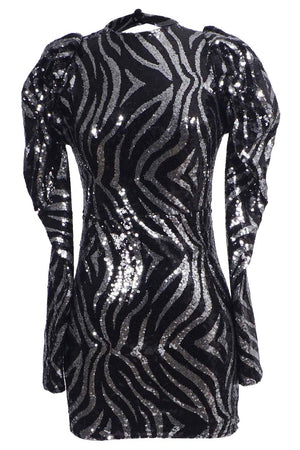 Black / Metallic Zebra Sequin Plunged Mini Dress