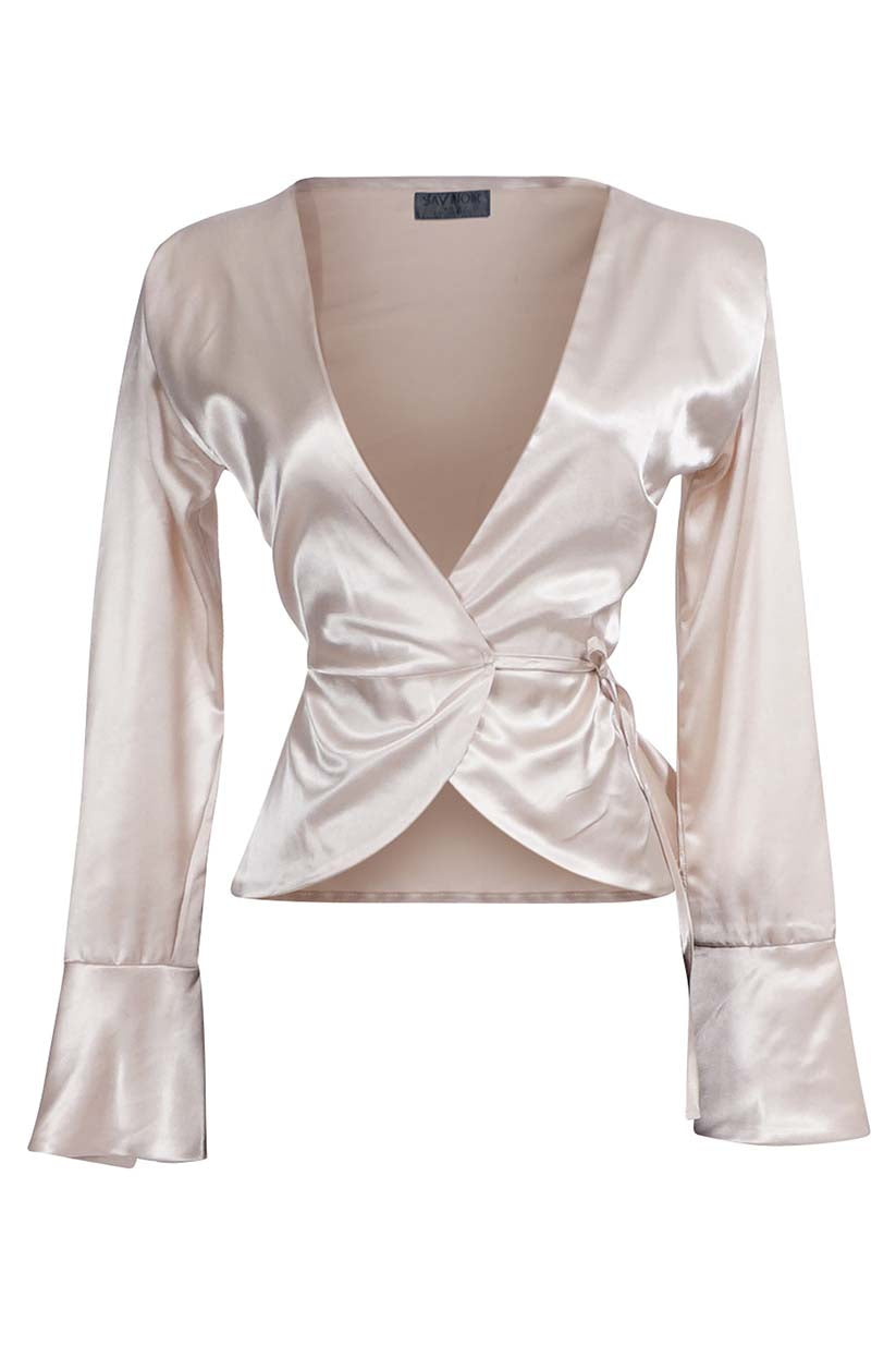 V NECK TAUPE CHARMEUSE EVENING BLOUSE