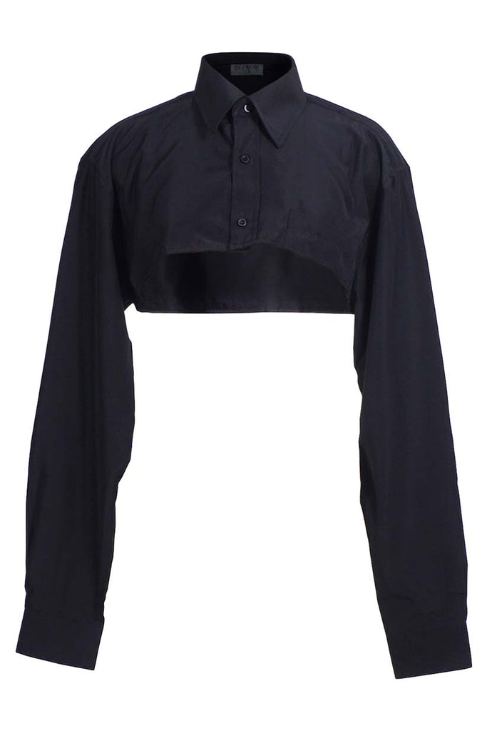 Black Cropped Button Up