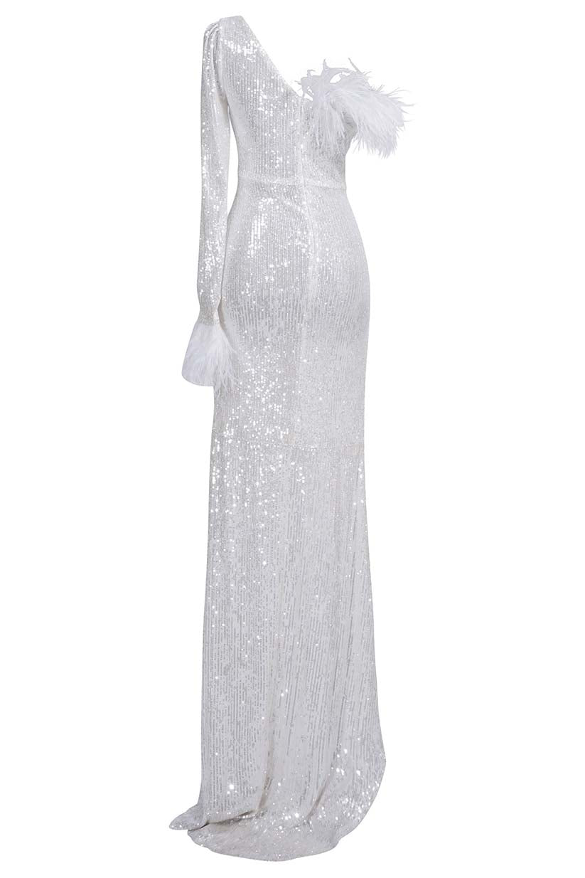 White Sequin Ostrich Feather Gown
