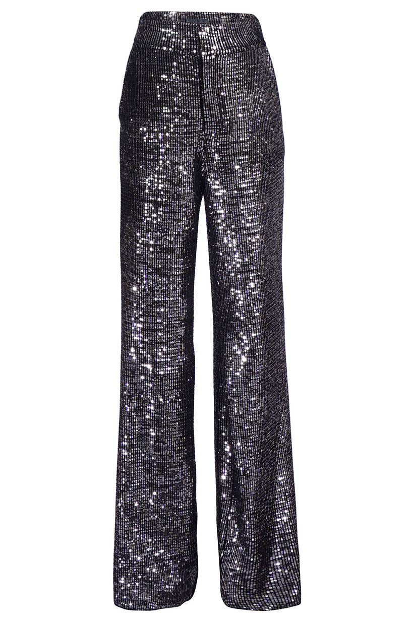 High Waist Metallic Velvet Trouser