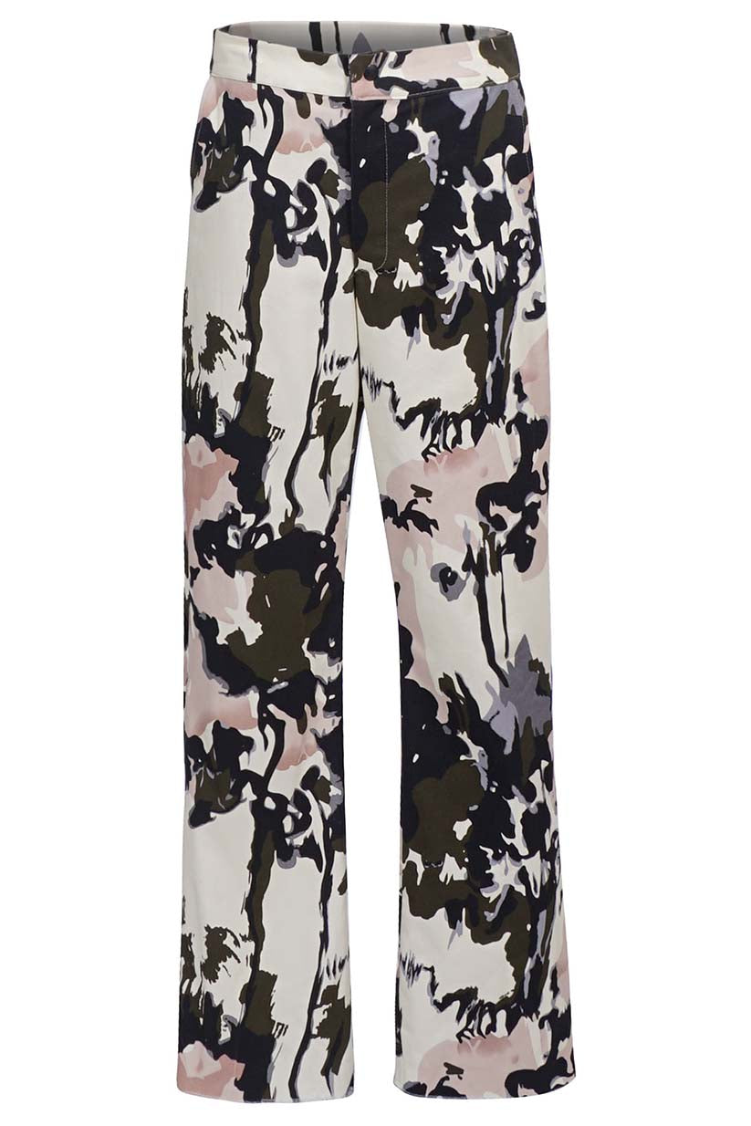 Cream Paint Abstract Trousers