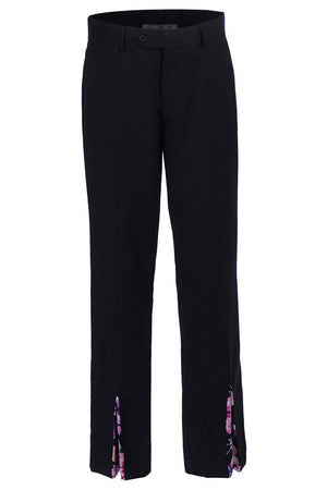 High-Rise Straight Leg Trouser with  Front Pleat and Slit