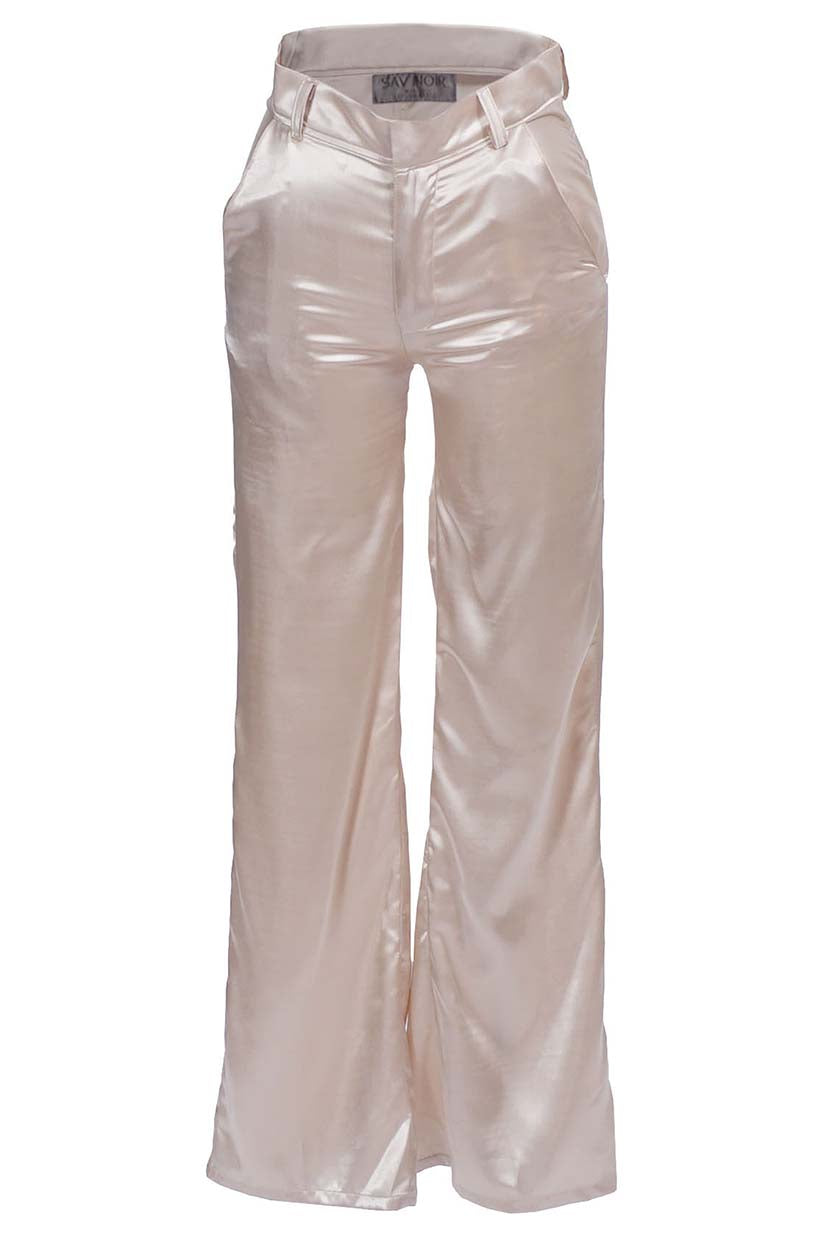 TAUPE CHARMEUSE EVENING TROUSERS