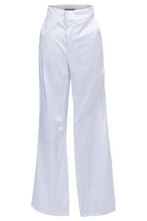 White Long Boot-cut Trousers