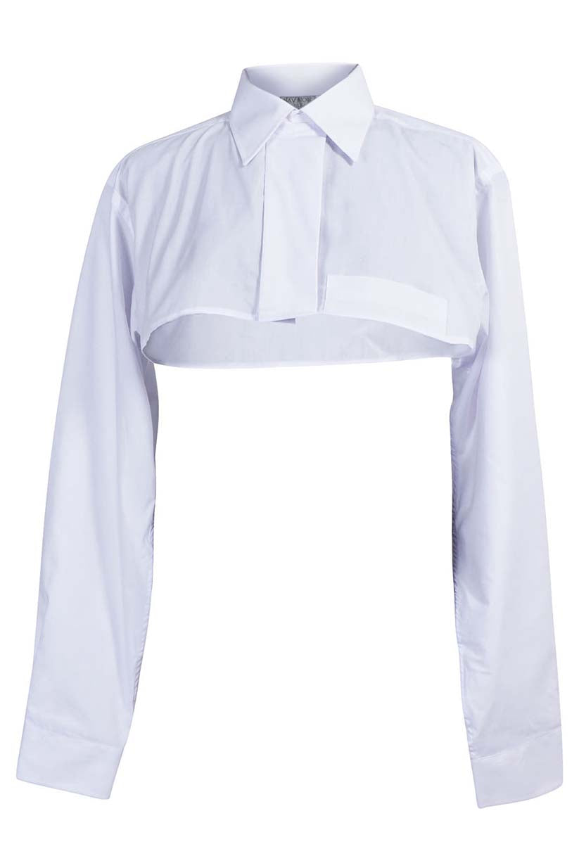 White Cropped Button Up Shirt