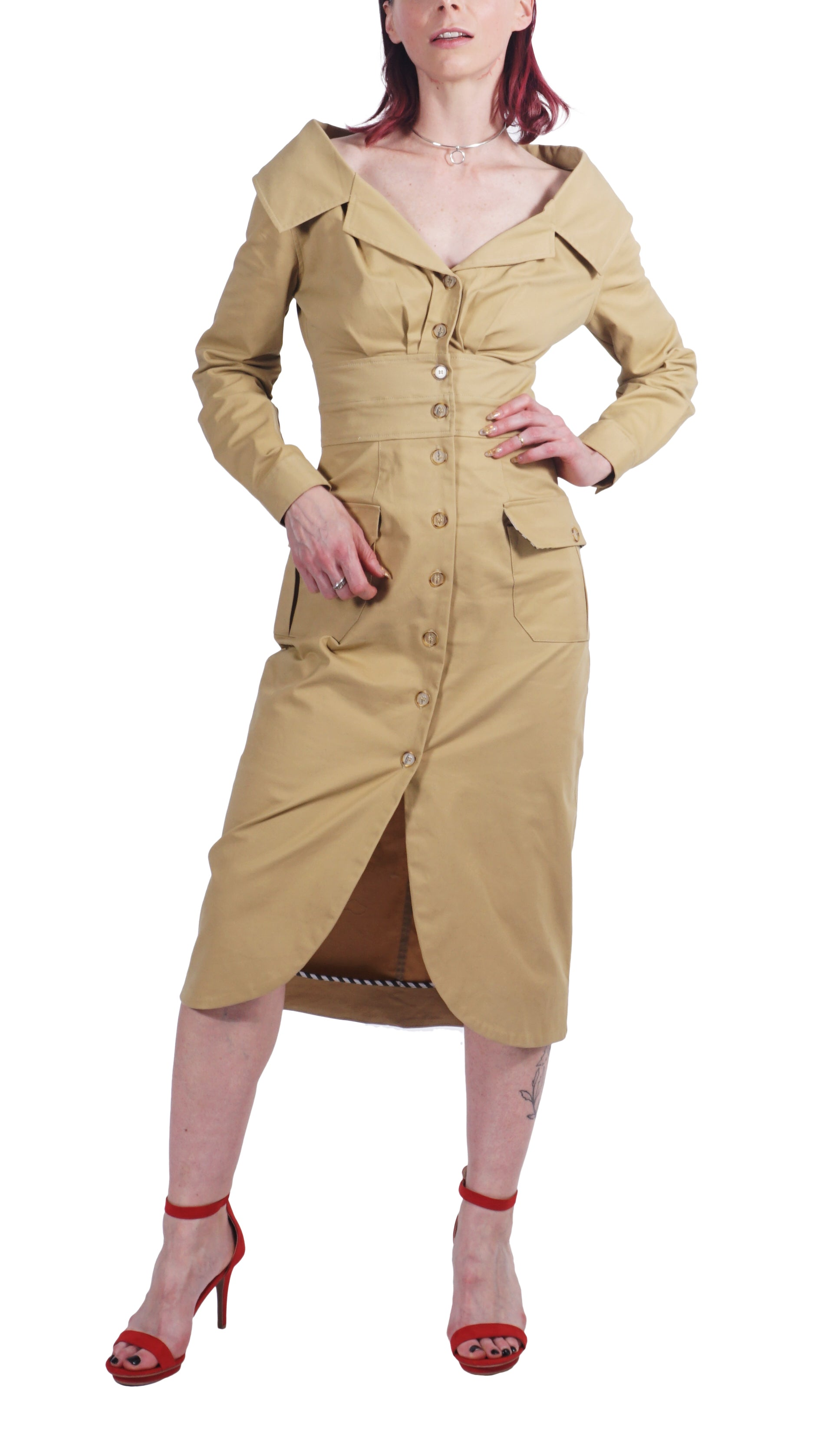 Khaki Trench Dress