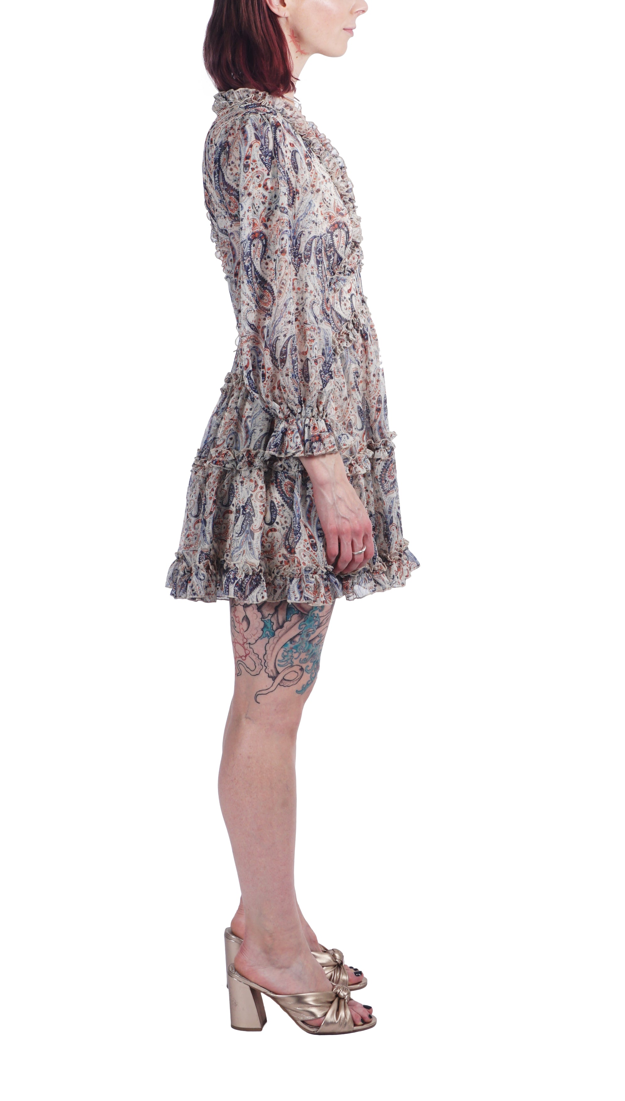 Blue Paisley Ruffle Dress