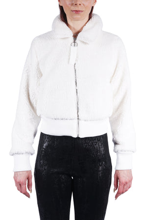 White Fleece Bomber