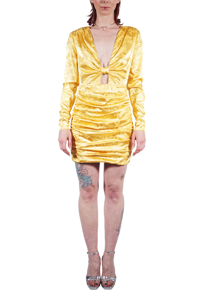 Yellow Satin Jacquard Cocktail Dress