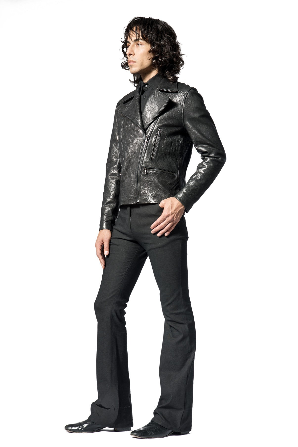 BLACK CRUSHED LEATHER MOTO