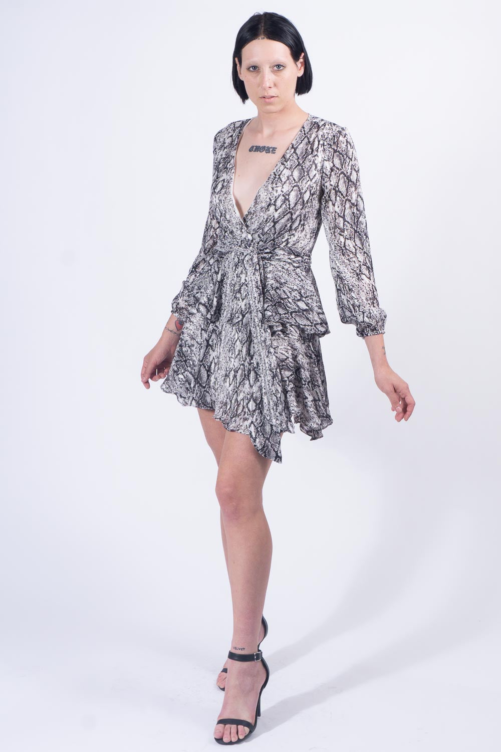 Black/White Python Dress