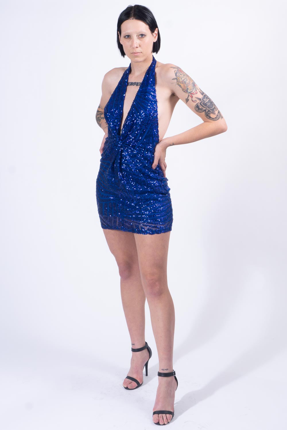 Blue Sequin Cocktail Dress