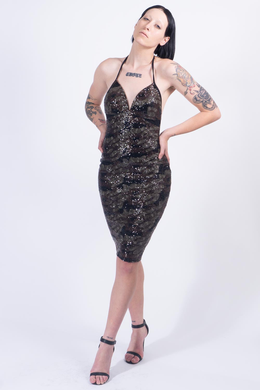Camo Sequin Cocktail Dress