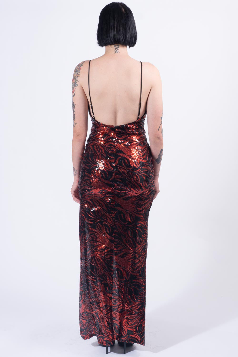 Red Tiger Sequin Gown