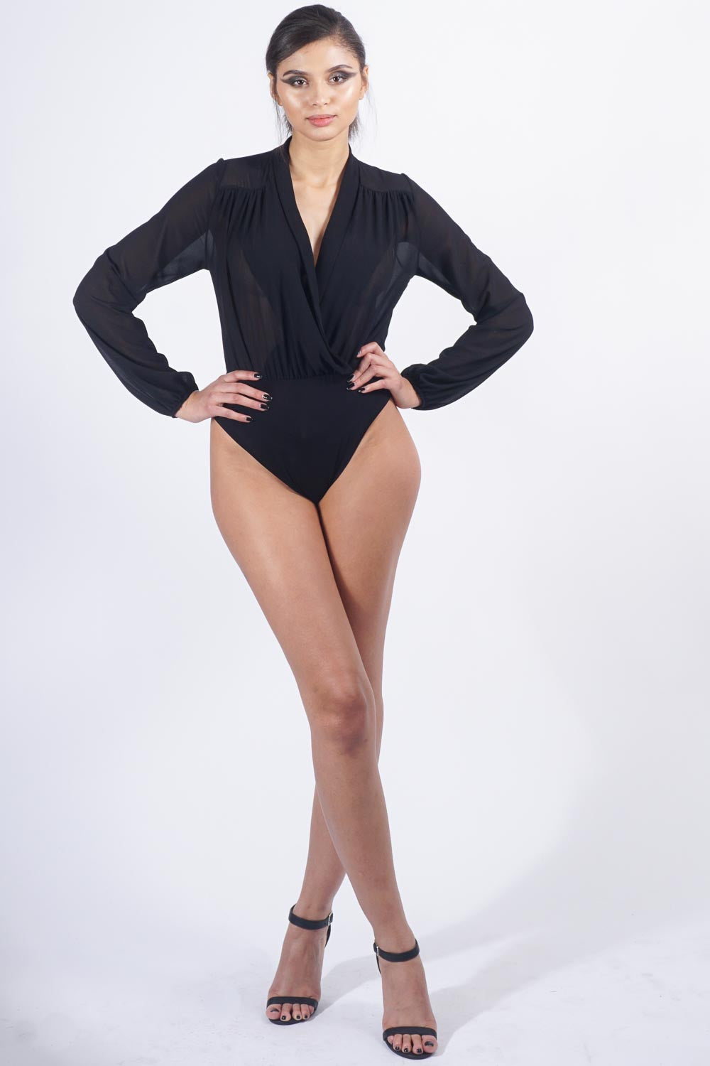 Black Chiffon Blouse Bodysuit