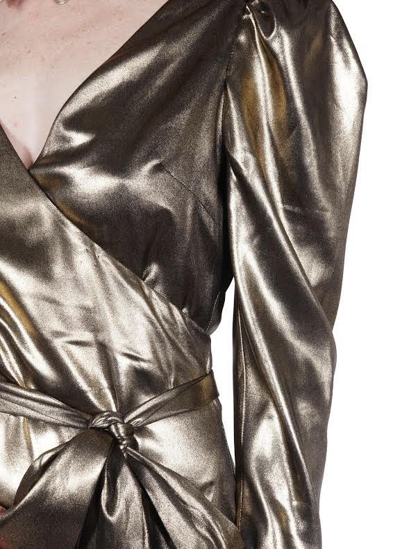 Gold Metallic Mini Wrap Dress