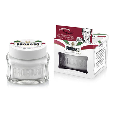 NEW Proraso Pre & Post Shaving Cream for Sensitive Skin 100ml - White