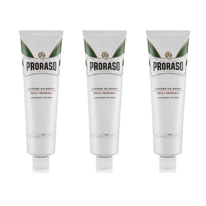 DAMAGED NEW 3 Proraso Shaving Cream for Sensitive Skin with Green Tea and Oat Extract  - White Tube 150ml