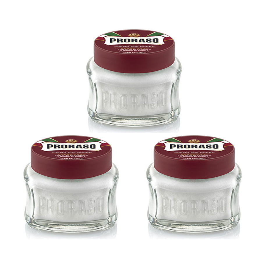 Triple Pack Proraso Pre & Post Shaving Creams - 100ml Red