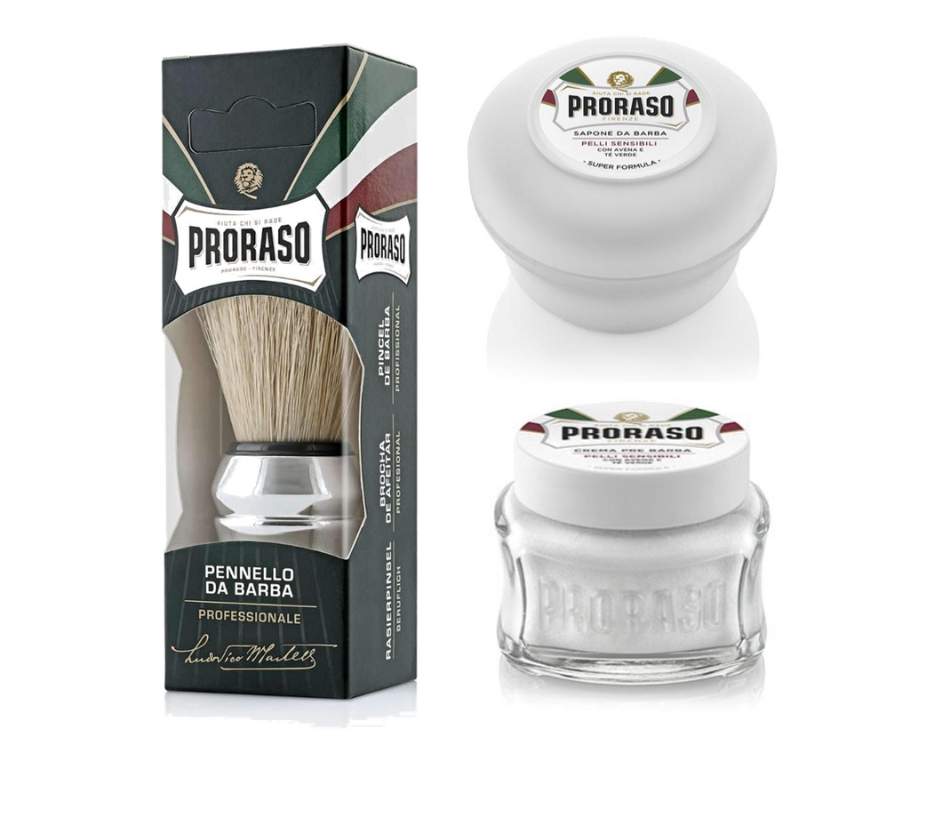 3 Piece Shaving Kit - White