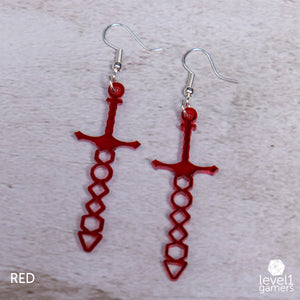 Dice Sword Acrylic Earrings