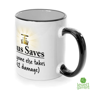 Jesus Saves Parody Mug