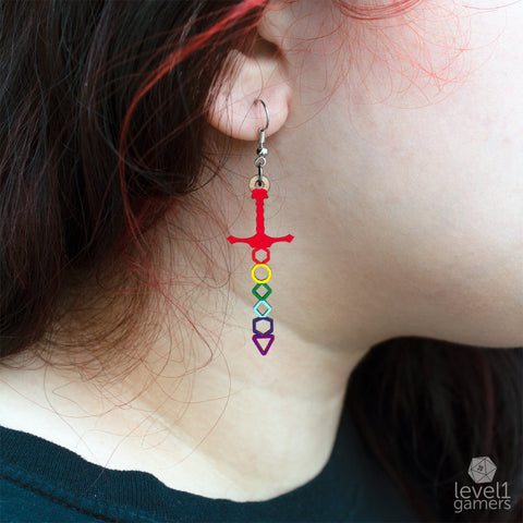 Rainbow Dice Sword Earrings