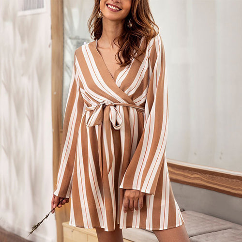 Maternity Casual V-Neck Long Sleeve Elastic Waist Striped Dress
