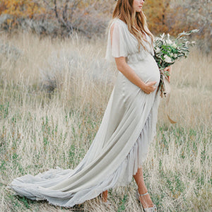 Maternity Casual Pure Color Backless Dress